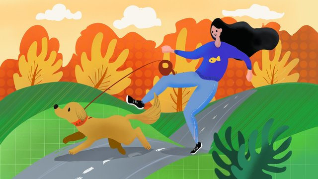 Cute pet series autumn and puppy running, Cute Pet, Pet, Dog illustration image