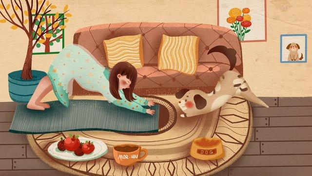 मेंग पालतू श्रृंखला की लड़कियां घर में कुत्तों के साथ मिलकर योगाभ्यास करती हैं चित्रण छवि चित्रण छवि