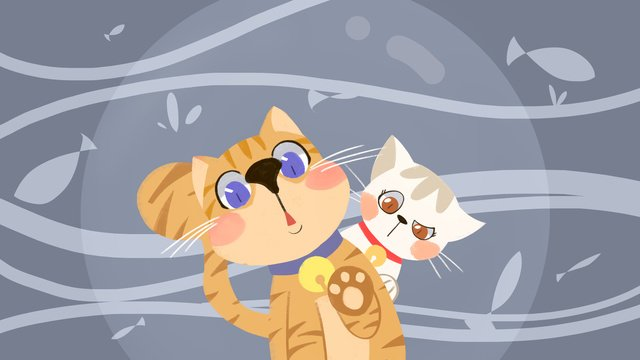 Cute pet pet Orange cat Comet, Lovely, Fresh, Funny illustration image