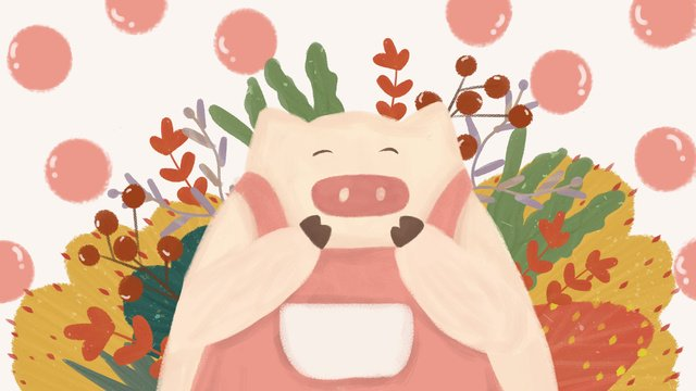 Animal de estimação bonito rosa porco cartoon dos desenhos animados pequena ilustração pintados à mão frescaAnimal  De  Estimação PNG E PSD illustration image