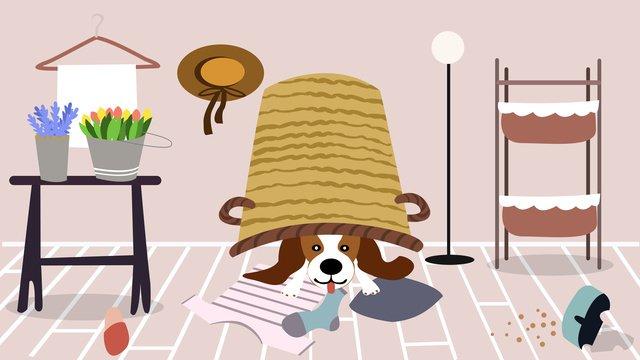 家にはかわいいペット、いたずらな、風変わりな、日、ペット、毎日のオリジナルイラストがあります イラスト素材 イラスト画像