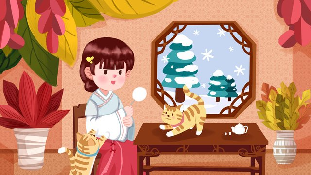 Cartoon flat october cute pet series girl illustration poster mobile phone with map, Cute Pet Series Illustration, Cute Girl Illustration, Cartoon Pet illustration image