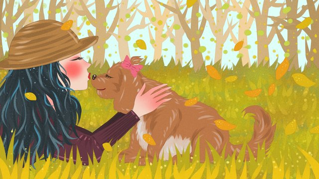 Cute pets and girls playing in the grass fresh illustration, Cute Pet, Teenage Girl, Dog illustration image