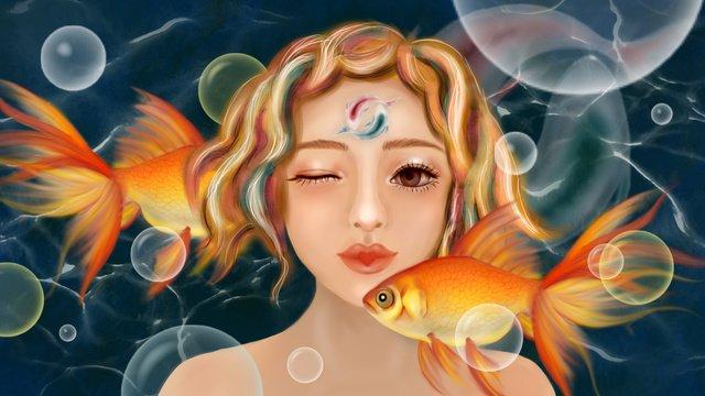 Темно синий огромный морской пузырь золотая рыбка вода волна рыбы богиня Ресурсы иллюстрации