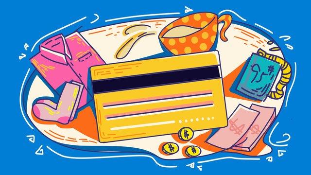 Финансовая карта Кредитная Бизнес одежда Еда и размещение штрихи линии контраст цветная иллюстрация ручная роспись Ресурсы иллюстрации