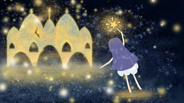 city star castle girl sleeping wonderland goodnight llustration image illustration image