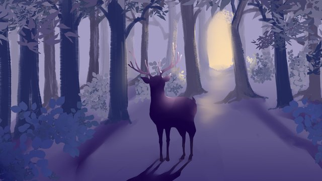 Lin shen sees the deer cure illustration, Deep Forest, Deer, Cure illustration image