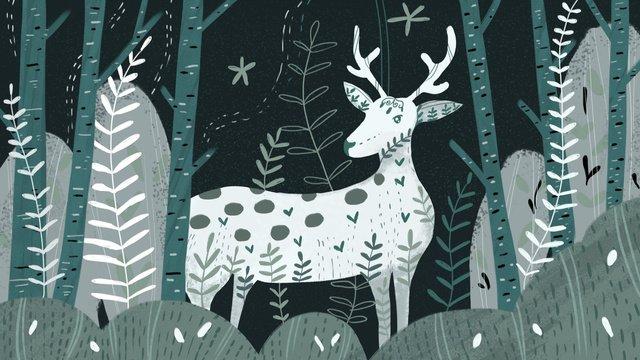 Deep forest see deer, Deep Forest, Lin Shen, Deer illustration image