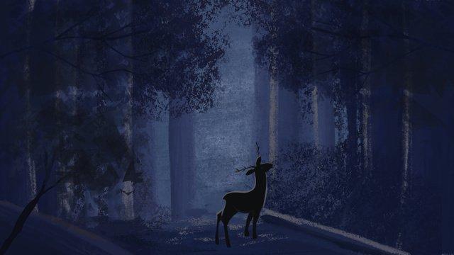 깊은 숲 사슴 치료 시리즈 원본 그림을 참조하십시오 삽화 소재 삽화 이미지
