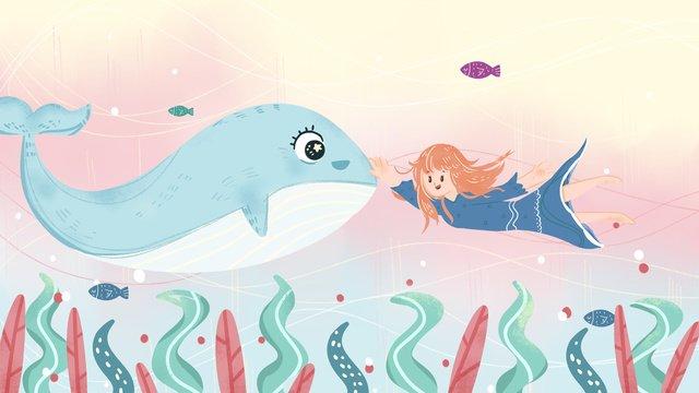 Deep sea whale pink cartoon ocean girl hand drawn illustration, Deep Sea, Ocean, Jin Yu illustration image
