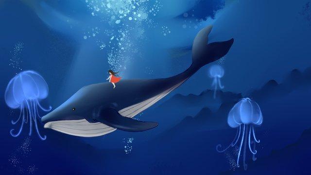 깊은 바다 고래 소녀 그림 삽화 소재