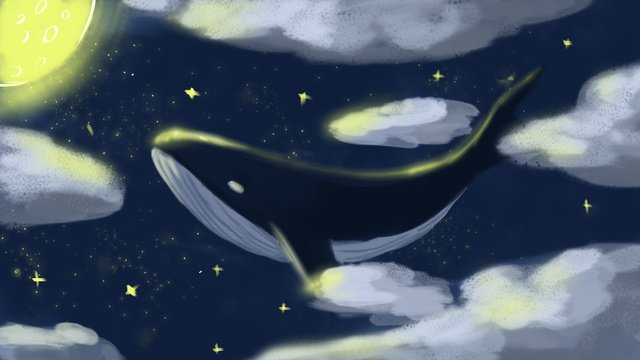 Deep sea whale swimming in the clouds cure illustration with map, Deep Sea Whale, Moon, Whale illustration image