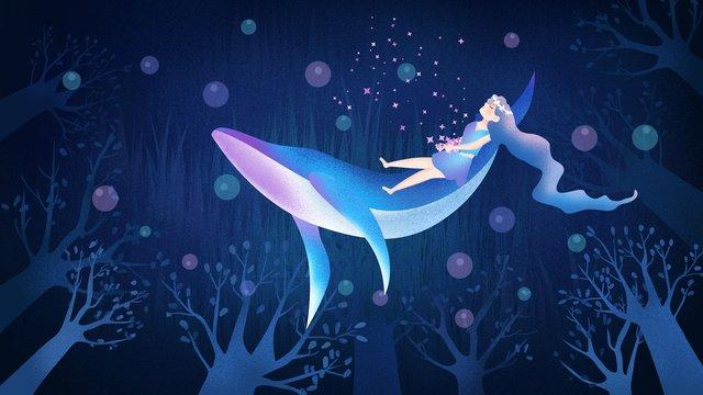 原創手繪插畫治愈系深海遇鯨海洋女孩與鯨 插畫素材 插畫圖片