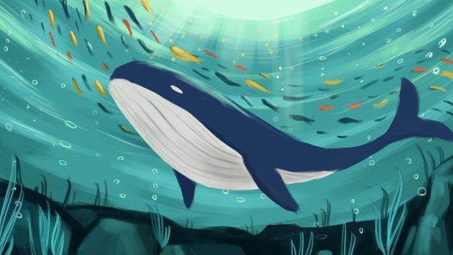 深海クジラ底海クジラ治療イラストポスター付き地図 イラスト素材 イラスト画像