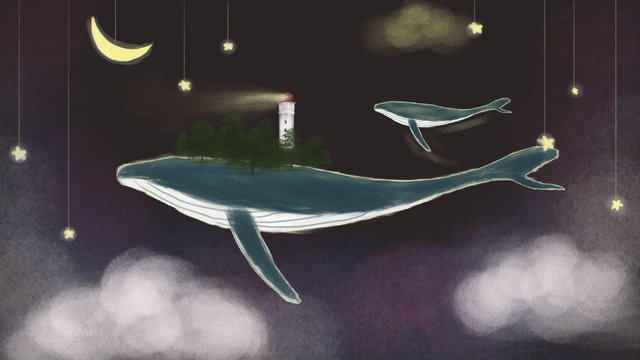 Deep sea whale, Deep Sea Whale, Whale, Dream illustration image