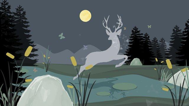 simple atmosphere forest deep see deer hand drawn illustration llustration image