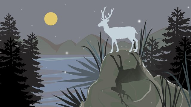 simple small fresh forest deep see deer illustration llustration image illustration image