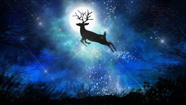 美しい夢は星空の下を飛ぶ鹿を治す イラスト素材