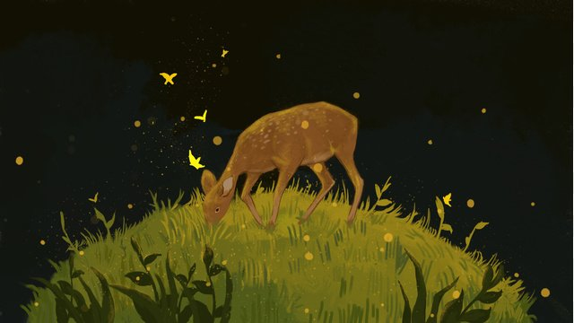 Simple and fresh dreaming fairyland meadow elk illustration llustration image illustration image