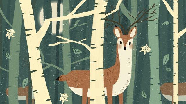 हिरण और वन जानवरों का चित्रण चित्रण छवि