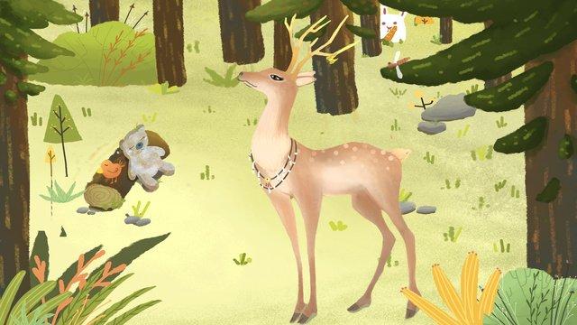 deer forest Bear green, Fresh, Hand Painted, Cartoon illustration image