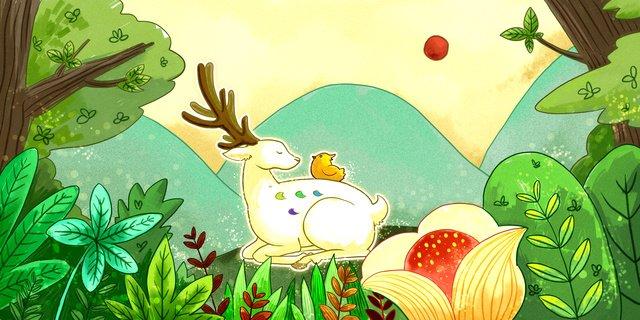 鹿と森の白鹿鳥小新鮮 イラスト素材