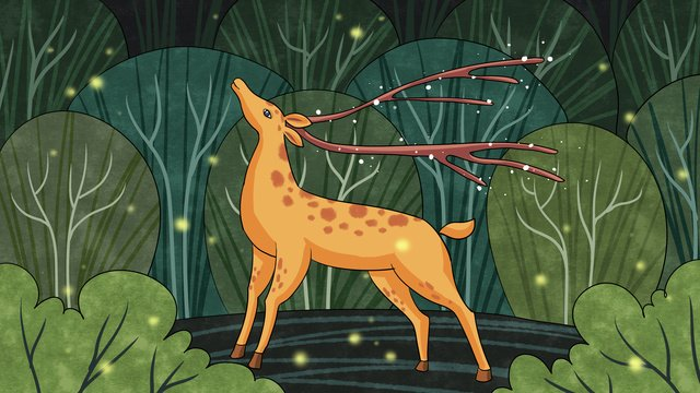 Lin shenjian sees the firefly healing system in deer forest, Deer, Forest, Green illustration image