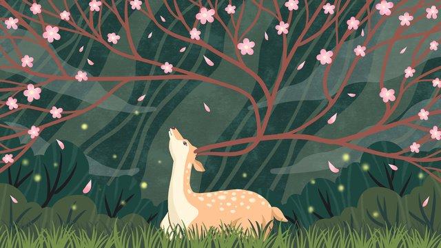 林shenjian鹿美しいピンクの花の治療イラスト イラスト素材 イラスト画像
