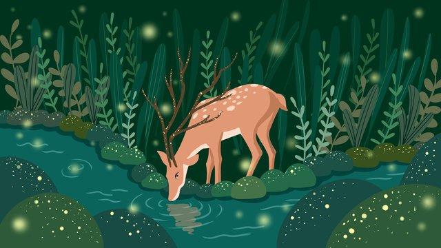 deer forest green Beautiful, Cure, Orange, Sika Deer illustration image