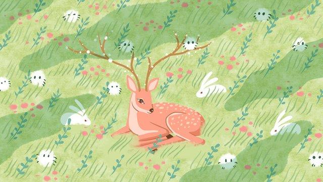 草と森の鍵のエルフに横たわっている鹿とウサギ イラスト素材