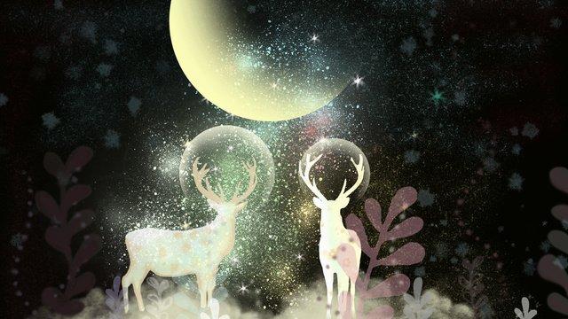 Fantasy starry glowing deer, Deer, Illustration, Wallpaper illustration image