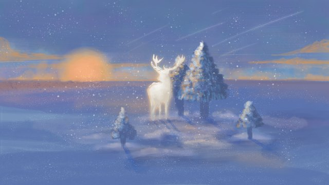 Deep forest with deer illustration, Deer, Tree, Blue Purple illustration image
