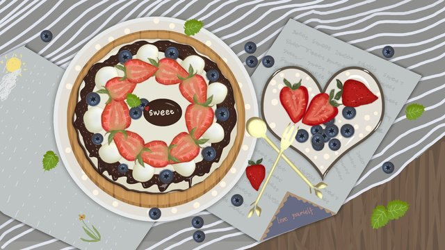 繊細でリアルなケーキデザート食品のイラスト イラストレーション画像 イラスト画像