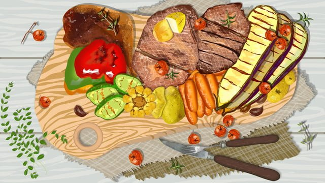 繊細でリアルなバーベキュー美味しい西洋料理 イラストレーション画像 イラスト画像