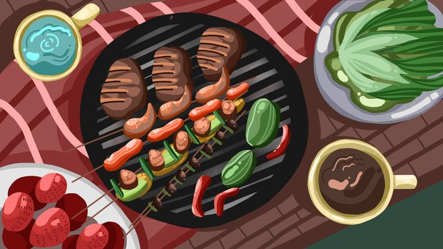 Delicious barbecue food skewer illustration, Delicious, Barbecue, Food illustration image