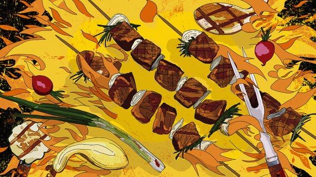 original delicious barbecue skewers vegetables gourmet hand drawn illustration llustration image illustration image