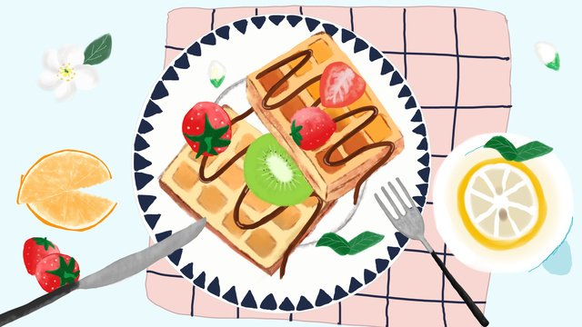 delicious gourmet afternoon tea dessert waffles fruit and llustration image