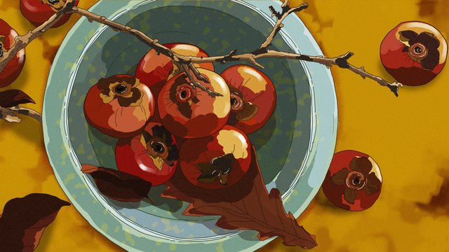 original delicious seasonal fruit sweet persimmon gourmet hand drawn illustration llustration image illustration image