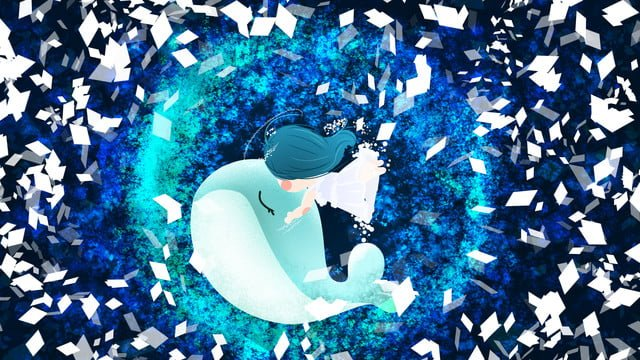 Sea and whale starry night little girl dreamland space, Design, Late At Night, Good Night illustration image