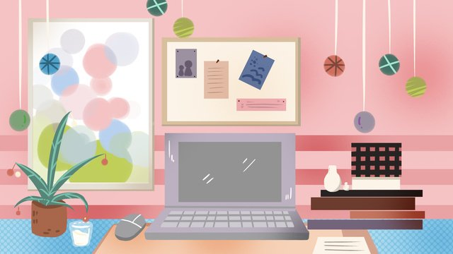 designers office furnishings desktop clothing designer pink computer desk llustration image