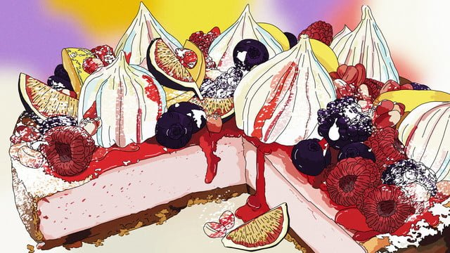 original afternoon tea dessert fruit cream cake gourmet hand drawn illustration llustration image illustration image
