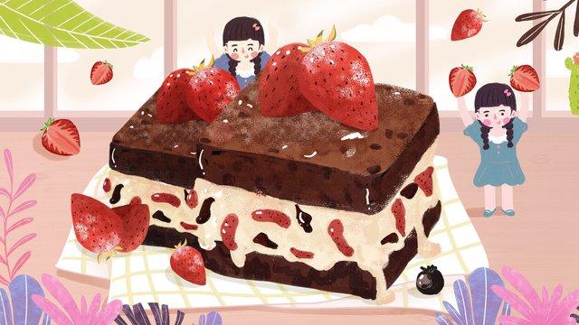 原創插畫-小清晰甜點草莓下午茶 插畫素材