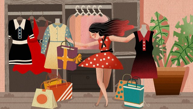 Double eleven shopping girls dancing at home cute warm illustration, Double Eleven, Girl, Shopping illustration image