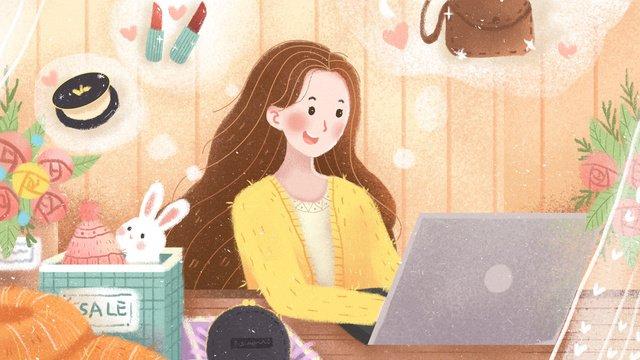 original small fresh illustration double eleven online shopping girl llustration image