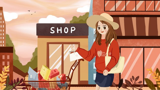 Double eleven shopping girls push the cart full of return, Double Eleven, Shopping, Girl illustration image