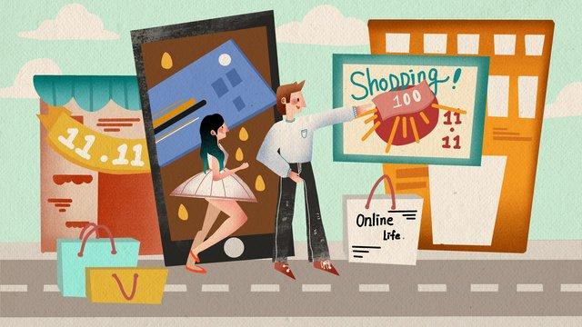 ダブル11ショッピングカーニバル男性と女性のフラットウィンドシンプルな新鮮なイラスト イラストレーション画像