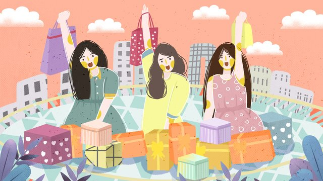 Double eleven shopping spree three girls holding bags illustration, Double Eleven Shopping Spree, Three Girls, Holding Shopping Bags illustration image