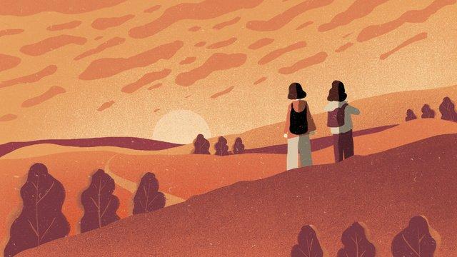 double ninth festival sunset ascend 일러스트 레이션 삽화 소재
