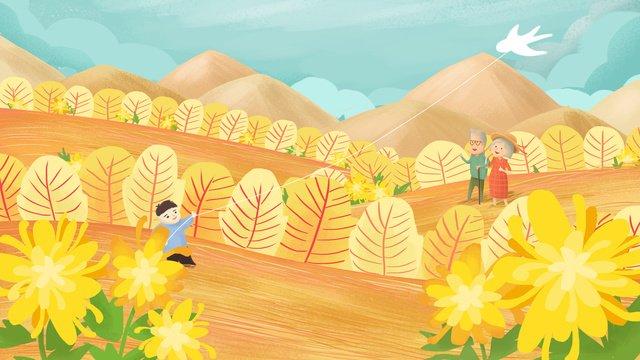 chongyang festivalでカイトを飛んでいる少年の元の手描きイラスト イラスト素材