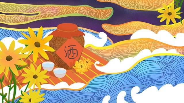 ambilight chongyang festival菊中華風オリジナルイラスト イラスト素材